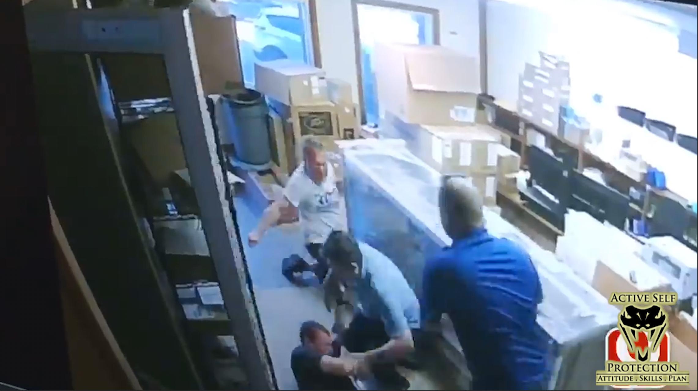 Employees Stop Knife-Wielding Lunatic
