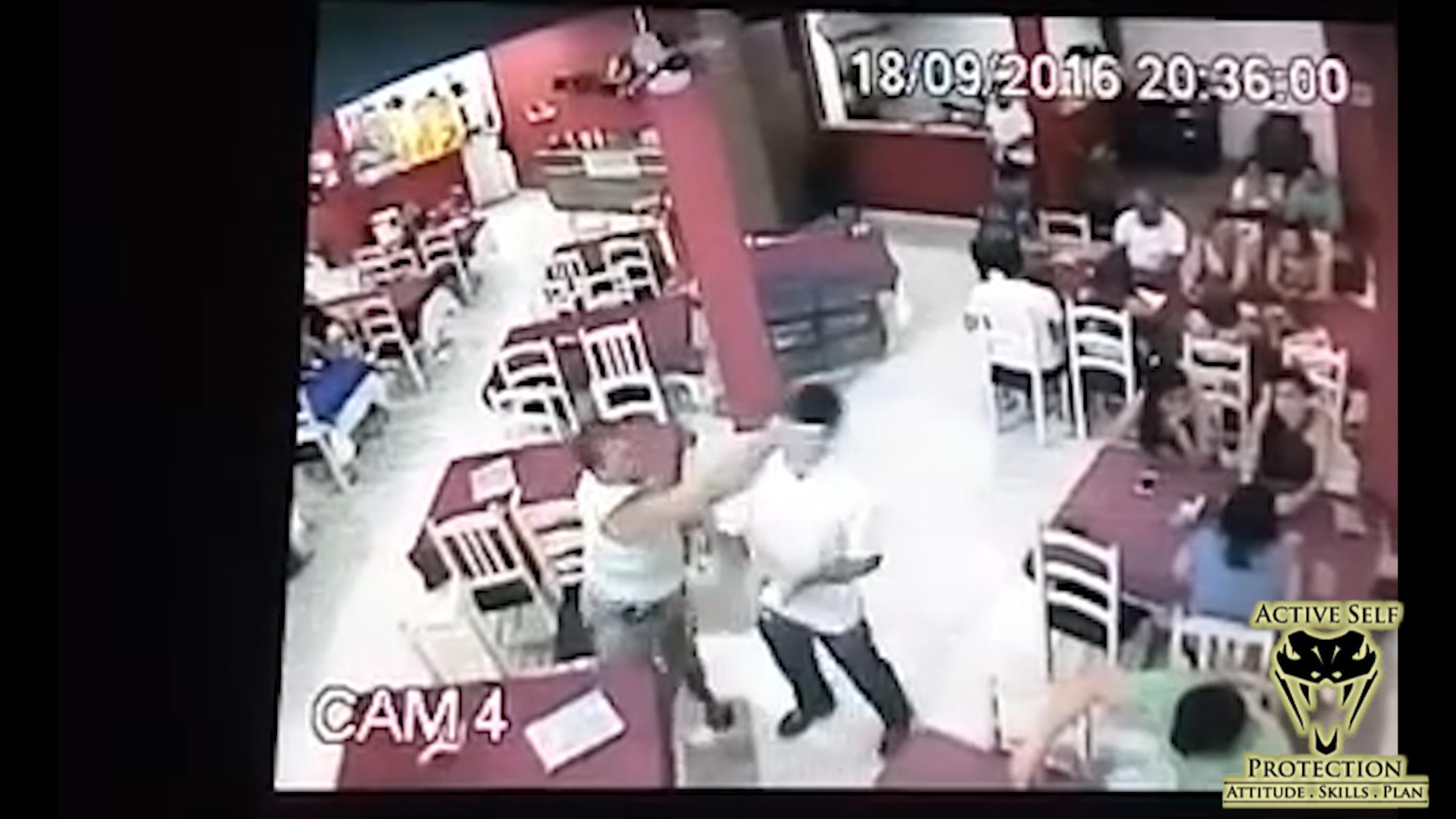 Waiter Drops Customer Who Attacked Him